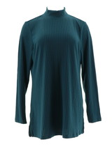 Denim & Co Essentials Ribbed Knit Mock Neck Tunic Fall Teal M NEW A299226 - $30.67