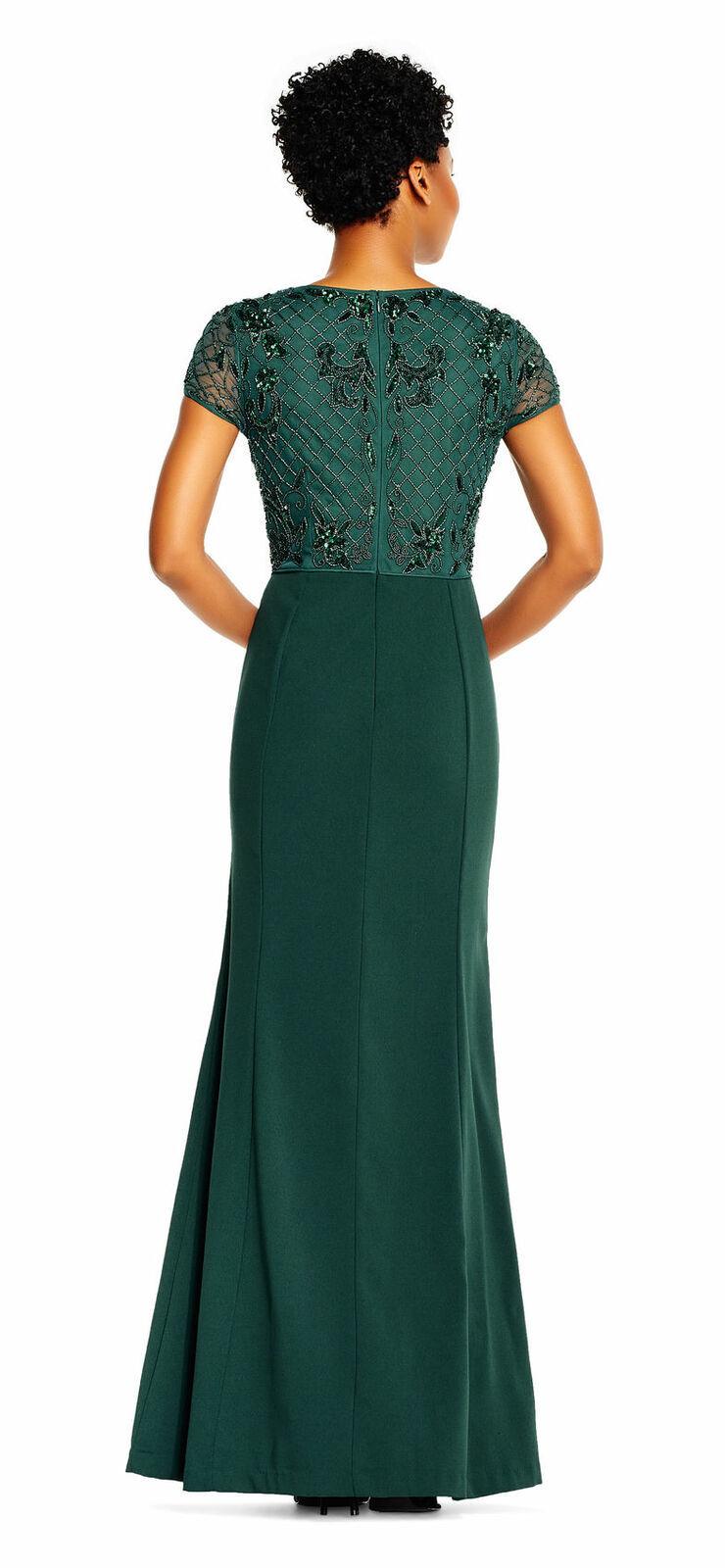 Adrianna Papell Short Sleeve Mermaid Gown Beaded Bodice, Dusty Emerald, 22W