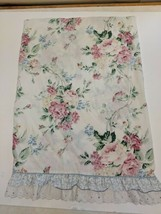 Vintage Waverly Standard Size Floral Pillow Case Pink Roses whte Ruffled... - $9.05