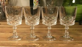 4 Cristal D'Arques 10oz DIAMOND Pattern Wine Water Goblets France 6 Inch - $24.70
