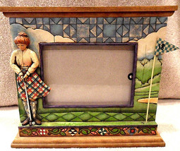 HEARTWOOD CREEK JIM SHORE WOMAN GOLFER PICTURE FRAME SELF STAND BASE MINT - $11.29
