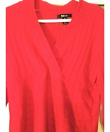 Ladie's Red Rayon blend Blouse Style & Co. cross V-neck with empire wais... - $12.19