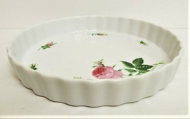 """The Rose Collection Pink Roses Fluted Edge Ceramic Pie Pan Tart Plate 9"""" image 2"""
