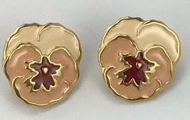 Avon Pansy Flower Earrings Pierced Post Peach Red Enamel Gold Tone - $14.85