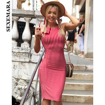 SEXEMARA Red Striped Sexy Bodycon Dress Nightclub Summer Beach Halter Backless  - $37.59