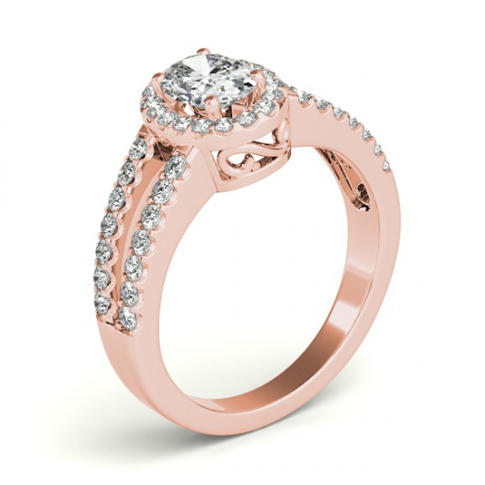 Oval Shape White CZ Two Row Bridal Wedding Ring 14k Rose Gold Plated 925 Silver