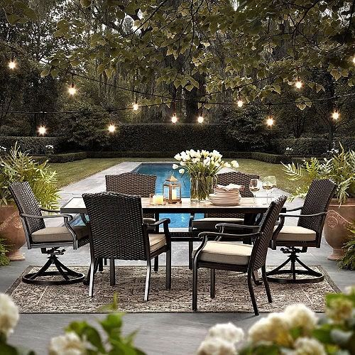 Wicker Patio Furniture Set 7-Piece All-Weather Dining ...