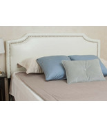 Queen Leather Headboard White Adjustable Height Full Size Bonded Nailhea... - $158.39