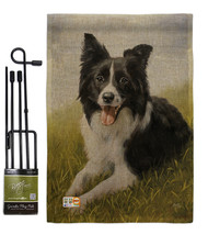 Border Collie Burlap - Impressions Decorative Metal Garden Pole Flag Set... - $33.97
