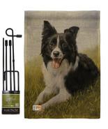 Border Collie Burlap - Impressions Decorative Metal Garden Pole Flag Set GS11007 - $33.97