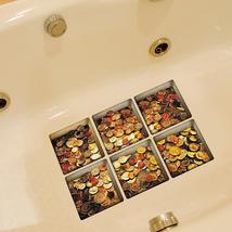 PAG 6pcs 13x13cm Coin Pattern 3D Anti Slip Waterproof Bathtub Sticker - $19.30