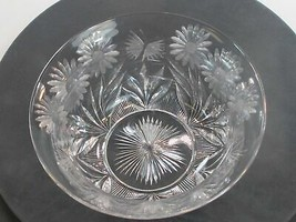 ABP cut glass bowl Pairpoint BUTTERFLY  daisey ANTIQUE - $163.28