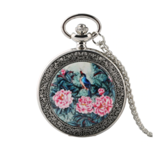 Top Luxury Silver Quartz Pocket Watch Vivid Bird On the Tree with Flowers - $13.50