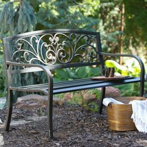 Metal Patio Garden Bench Scroll Back Bronze Finish 4 foot Backyard Outdo... - $128.69