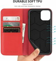 """SHIELDON iPhone 11 (5.8"""") Pro Case with Kickstand, Genuine Leather, Red image 7"""