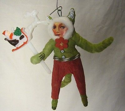 Vintage Inspired Spun Cotton Christmas Ornament Cat Boy! No.117