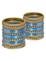 Lacquer Glass Wedding Bangles for women torquoi... - $42.00