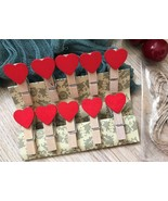 red heart Photo wood Clip,clothespin,special gift wedding party favor De... - $3.90+