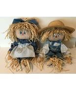 Scarecrow Rag Dolls 2 Handmade Farmhouse Country Cloth Homespun Boy Girl... - $129.99
