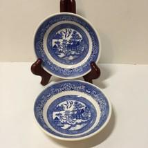 """2 Fruit Desert Bowls Bowl Blue Willow Homer Laughlin 5.25"""" J63N4 F64N4 - $12.59"""