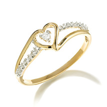 14k Gold Plated 925 Silver Round Cut Diamond Engagement Heart Shape Women's Ring - $65.99