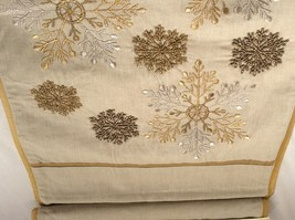 Christmas Table Runner 72 in Beaded Embroidered Snowflakes. Beige and Gold. - $29.50
