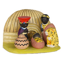 Small African Nativity Scene Seasonal Decoration - $24.26