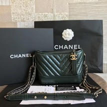 NEW AUTH Chanel 2019 DARK GREEN CHEVRON Calfskin Small Gabrielle Hobo Bag GHW image 1