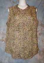 Womens Pink Green Leopard Print Liz Claiborne Shirt Size Large excellent - $6.92