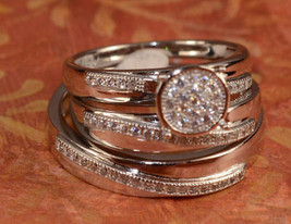 Diamond Wedding His Her Trio Bridal Band Engagement Ring Set White Gold ... - $164.99