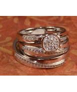 Diamond Wedding His Her Trio Bridal Band Engagement Ring Set White Gold ... - $138.59