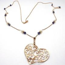 Collier en Argent 925 Rose, Perles, Pendentif Coeur, Tricoté Satin, 75 CM - $128.27