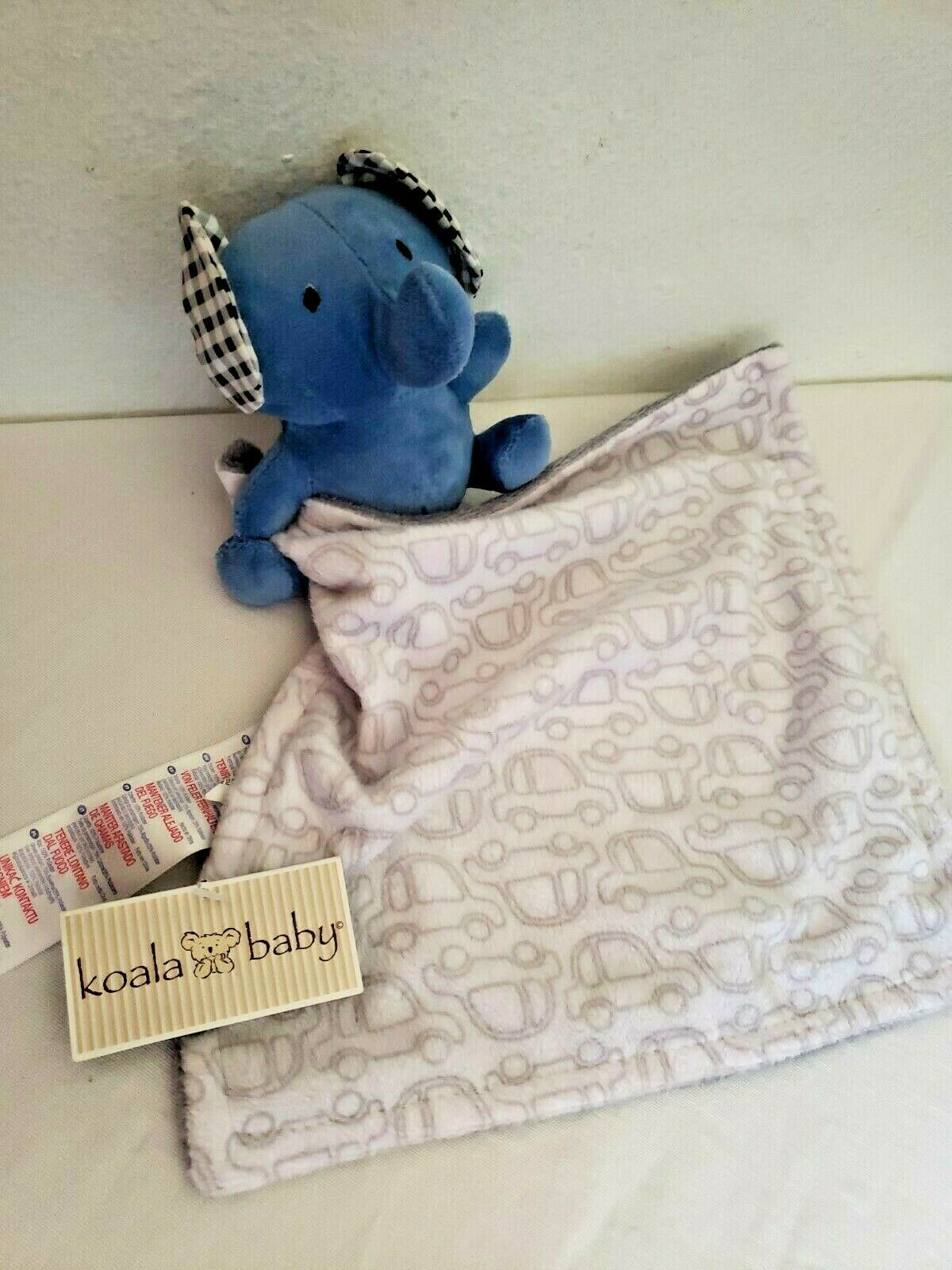 Primary image for Koala Baby Babies R Us Security Blanket Blue Elephant Grey White Cars Gingham