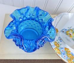 Fenton Rose Bowl Small Vase Hobnail Colonial Blue 1962-1979 Succulent Planter - $28.00