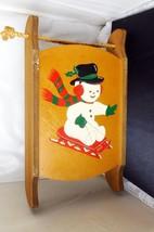 Vintage Snowman Sled Sleigh Toboggan/Hanging Shelf Holiday Decoration - $23.36