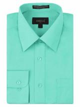 Omega Italy Men's Long Sleeve Solid Barrel Cuff Aqua Button Up Dress Shirt  4XL image 1