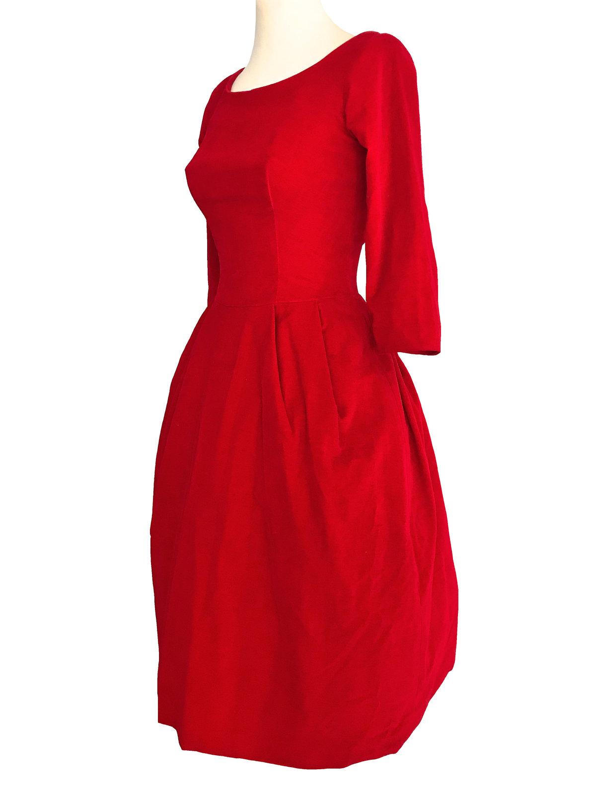 50s Poppy Red Velvet Fit & Flare Xmas Party Bubble Skirt Pin Up Rockabilly Dress