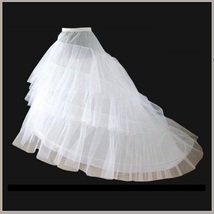 Fluffy Sweeping Three Layers Court Train Petticoat Underskirt Wedding Gown Slip
