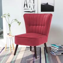 European style Home Office Cocktail Wingback Velvet Chair With Buttons  - $135.00
