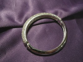 CHRISTIAN DIOR Bracelet Bangle Silver Tone Rhinestone Detail Vintage - $94.05