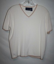 Liz Claiborne Sport MEDIUM Shirt Top Ivory Cotton Pullover Waffle Therma... - $14.45