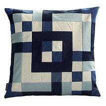 Black Temptation [Deep Ocean] Handmade Canvas Decorative Pillow Unique Grid Cush - $38.50