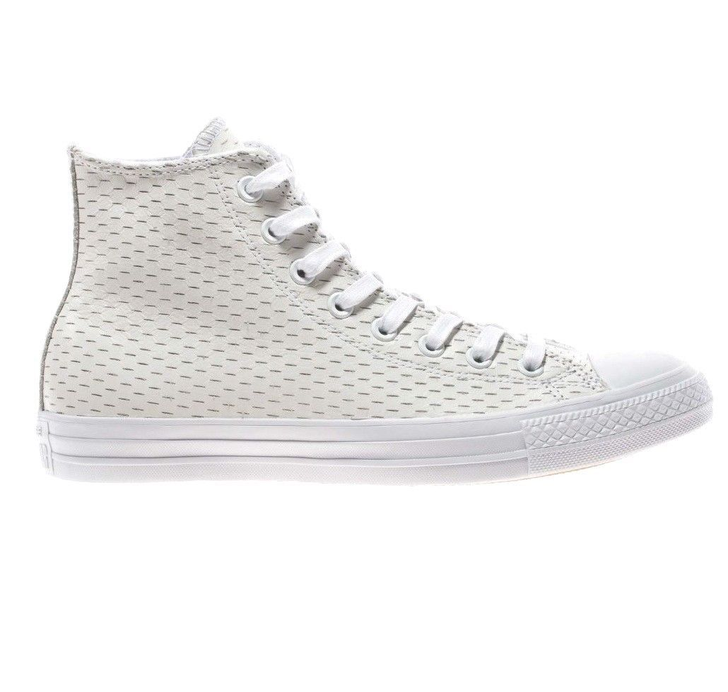 Converse All Star Leather High White Out Pack White/Gold 153115C Mens Shoe image 2