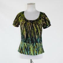Olive green black geometric THE LIMITED cap sleeve black rhinestone trim... - $19.99
