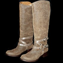 Lucky Brand Hanah Dark Earth Distressed Brown Suede Riding Boot 11 M EUR 41.5 - $99.99