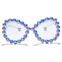 Vintage Women Pearl Glasses Frame  Luxury Wave legs Cateye Sunglasses Fashion Ra image 14