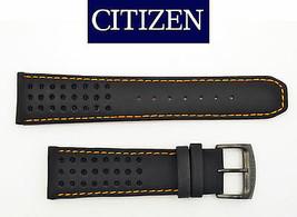 Citizen Eco-Drive 23mm Black Leather Watch Band w/Orange Stitching B612-... - $79.95