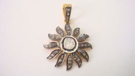 Vintage Repro. 0.80Ct Rose Cut Diamond Sterling Silver SunRay Pendant CJ... - $2.607,32 MXN