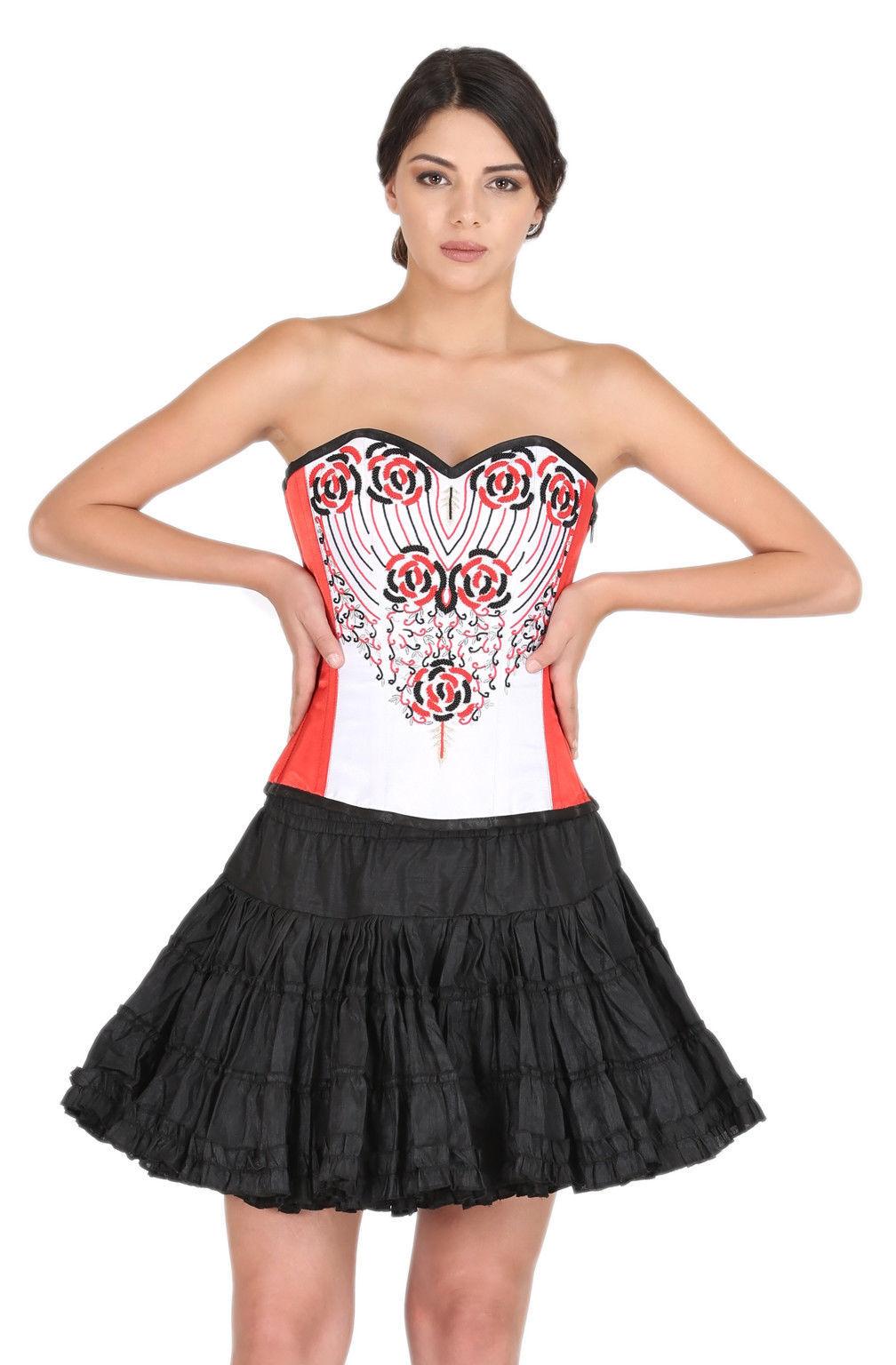 Red White Satin Handmade Sequins Goth Top Silk Tutu Skirt Overbust Corset Dress