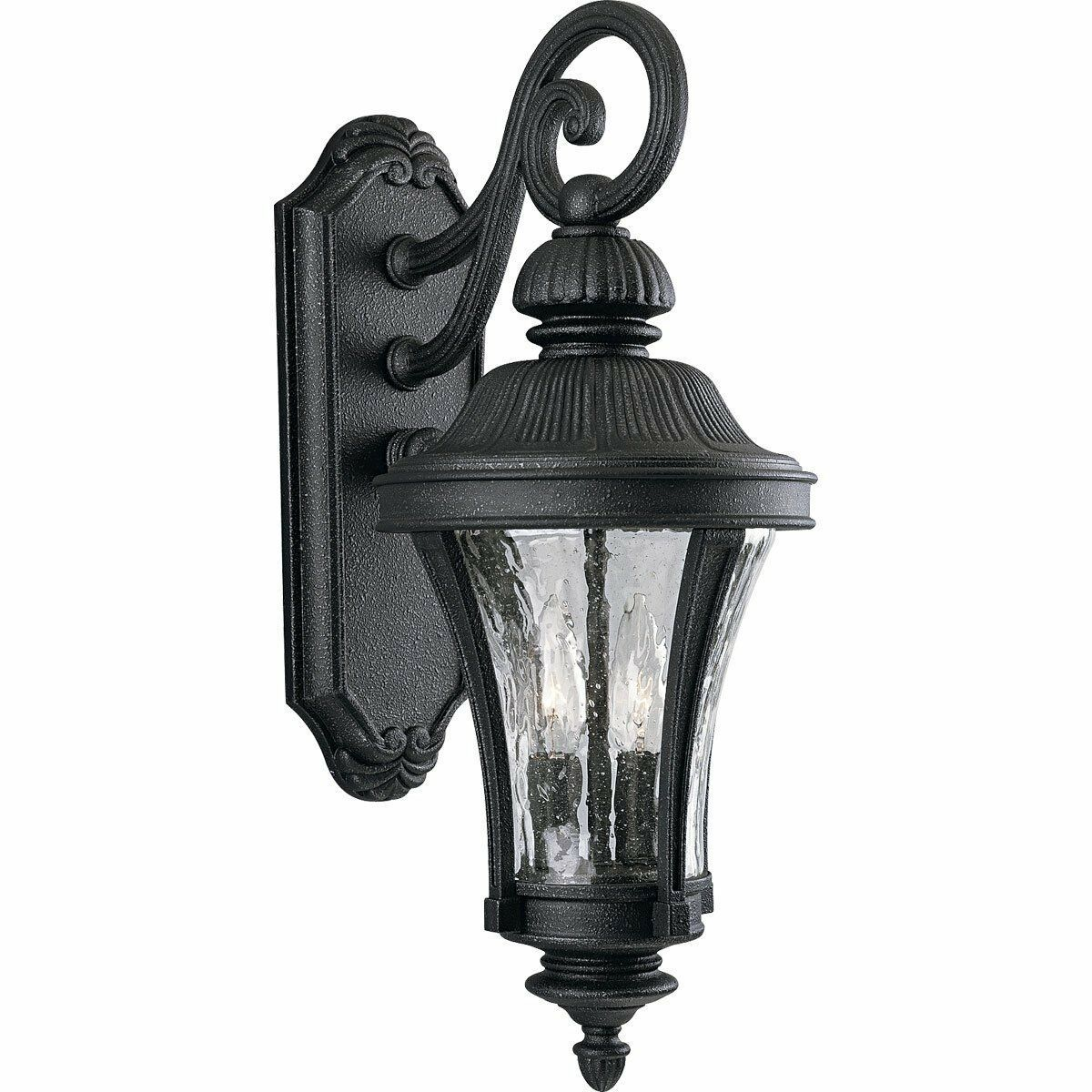 Black Gilded Iron Water Seeded Outdoor Wall Light Progress Lighting P5836-71